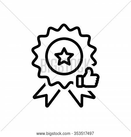 Black Line Icon For Quality Merits Attribute Virtue Excellence Eminence Certificate Badage