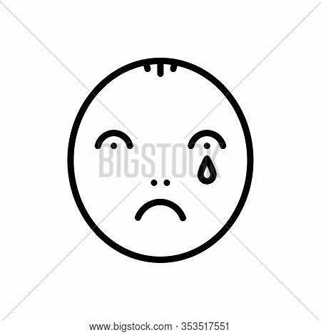 Black Line Icon For Sad Nostalgic Wistful  Pensive Cogitative Melancholy Unhappy Weep Blubber Sobbin