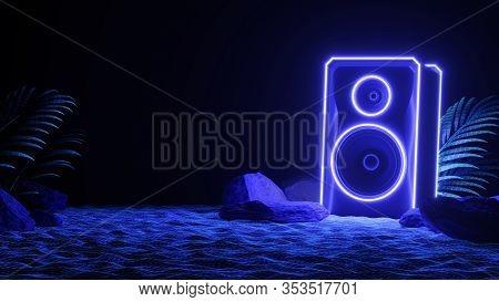 Sound Speaker In Neon Light In Beach. Futuristic Night Party Banner Concept. Summer Party. Cyberpunk