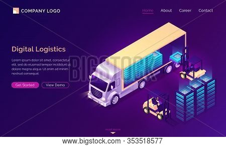 Digital Logistics Isometric Landing Page. Truck Delivery Datum Blocks, Modern Technological Freight,