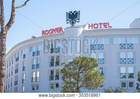 Tirana, Albania. February 2020: Hotel Rogner On Boulevard Of Martyrs In Center Of City Of Tirana, Al