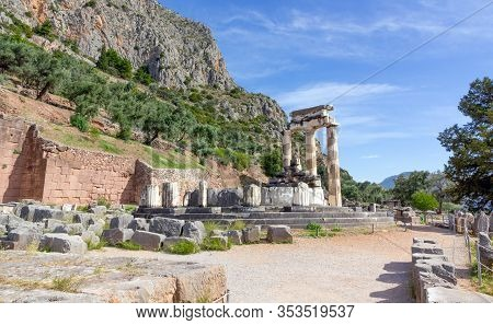 The Temple Of Athena Pronaia In Ancient Delphi, Greece.