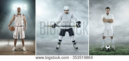 Collage of images shooting. Sports athletes from basketball, soccer, football and ice hockey players in dynamic action.