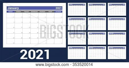 2021 Calendar. English Planner. Сolor Vector Template. Week Starts On Sunday. Business Planning. New