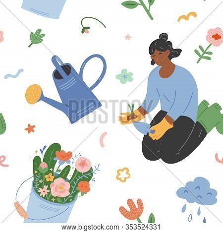 Woman In Graden, Spring Garden Vector Background. Seamless Vector Pattern With Girl Working In Garde