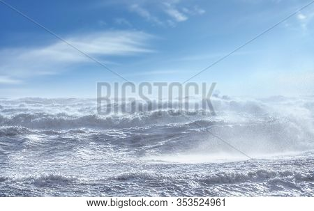 Stormy Sea With Waves And Foam During Wind Storm. Tyrrhenian Sea, Tuscany, Italy, Europe.