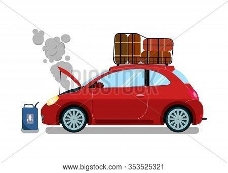 Broken Trip Automobile Flat Vector Illustration. Engine Failure Trouble. Car Motor Malfunction. Spoi