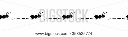 Seamless Border With Hand Drawn Ants. Black Worker Ants Marching. Cute Ants Repeating Border. Workin