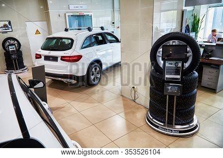 Kirov, Russia - May 07, 2019: Tyre In Showroom Of Dealership Mercedes In Kirov