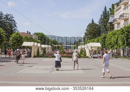 Russia, Kislovodsk-july 01, 2017; National City Park. People Walk In The Resort Park In Summer In Go