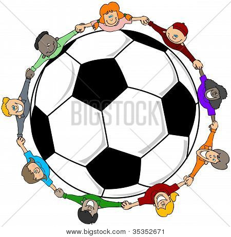 This illustration depicts a group of children encircling a giant soccer ball. poster