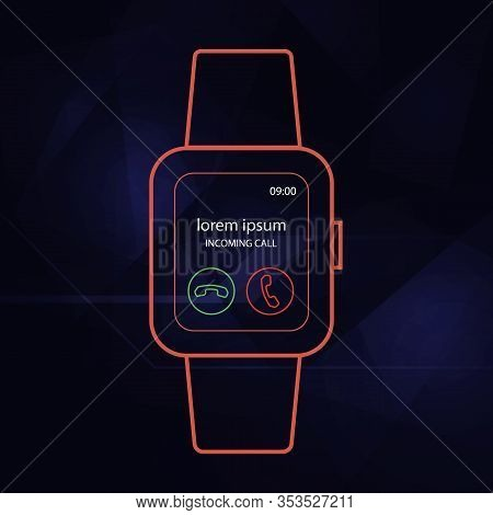 Wearable Smart Watch Digital Isolated Outline Vector