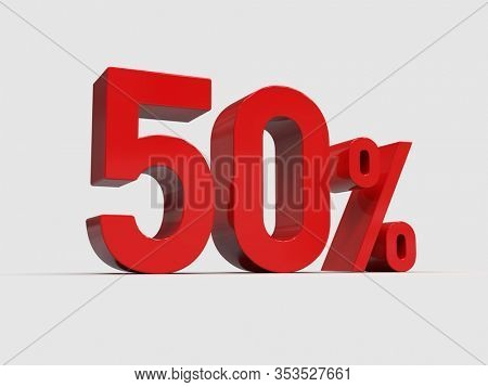 3d Render: Red 50% Percent Discount 3d Sign on Light Background, Special Offer 50% Discount Tag, Sale Up to 50 Percent Off, Fifty Percent Letters Sale Symbol, Special Offer Label, Sticker, Tag