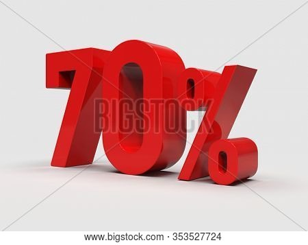3d Render: Red 70% Percent Discount 3d Sign on Light Background, Special Offer 70% Discount Tag, Sale Up to 70 Percent Off, Seventy Percent Letters Sale Symbol, Special Offer Label, Sticker, Tag