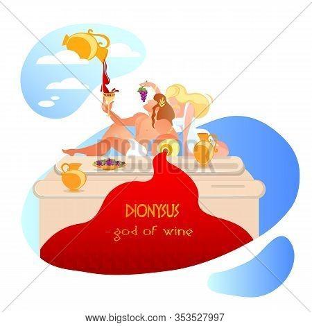 Dionysus, Bacchus With Wine Goblet, Ancient Greek Mythology God Of Vegetation, Viticulture, Winemaki