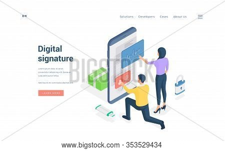 People Submitting Digital Signature To Online Document