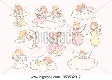 Set Of Baby Angels Cupidon Concept. Group Of Little Baby, Kids With Wings On Clouds. Collection Of H