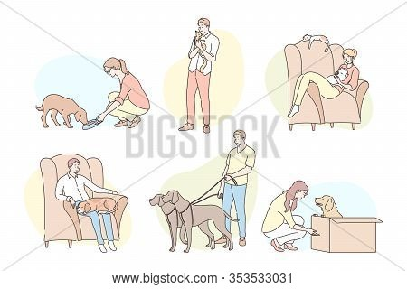 People With Pets Set Concept. Collection Of Different Young People Owners, Men Women Boys Girls Spen