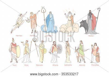 Ancient Greek Gods Set Concept. God Pantheon In Greece Hermes, Apollo, Poseidon, Zeus, Hades, Ares,