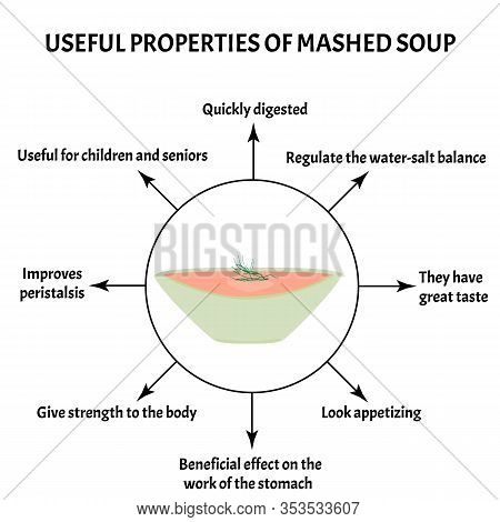 International Soup Day April 5th. Useful Properties Of Mashed Soup. Infographics. Vector Illustratio