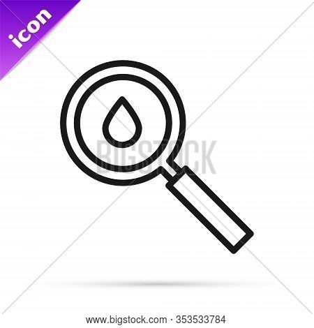 Black Line Oil Drop Icon Isolated On White Background. Geological Exploration, Geology Research. Vec