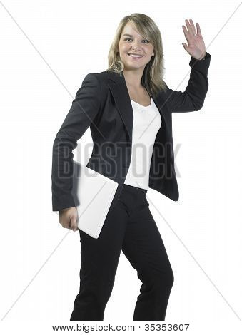 Greeting Young Business Woman With Laptop