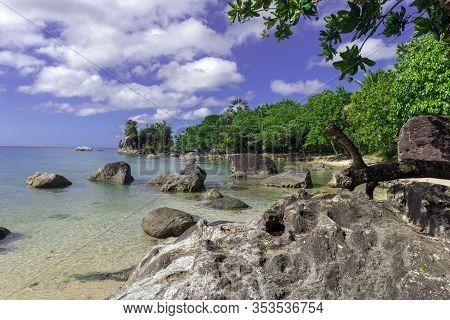 Paradise, Beautiful Sand Beach In Madagascar, Ile Saint Marie. Island