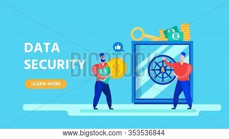 Flat Design Landing Page Offering Data Security. Cartoon Men Characters Saving Money On E-wallet. Pr