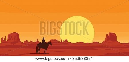 Vector Landscape With Wild American Prairies And Silhouette Of A Cowboy Riding A Horse At Sunset Or