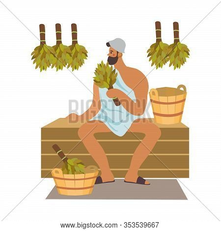 Bath And Sauna Poster With A Man Keeps Broom In Her Hand. Isolated Cute Vector Illustration