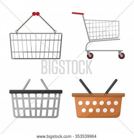 Vector Design Of Cart And Supermarket Sign. Collection Of Cart And Pushcart Vector Icon For Stock.
