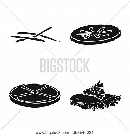 Vector Design Of Tasty And Cooking Sign. Set Of Tasty And Sandwich Stock Symbol For Web.