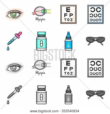 Vector Design Of Optometry And Medicine Symbol. Set Of Optometry And Diagnostic Stock Symbol For Web