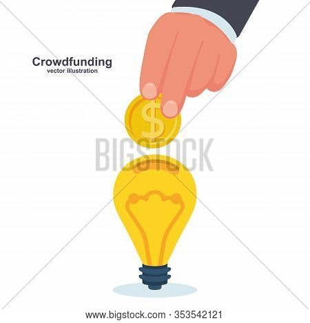 Crowdfunding Concept. Business Model Funding Project. Crowd Funding. Teamwork. Businessman Put Money
