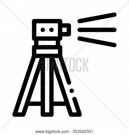 Topography Geodetic Tool Icon Thin Line Vector. Engineer Topography Tripod Equipment For Measuring C