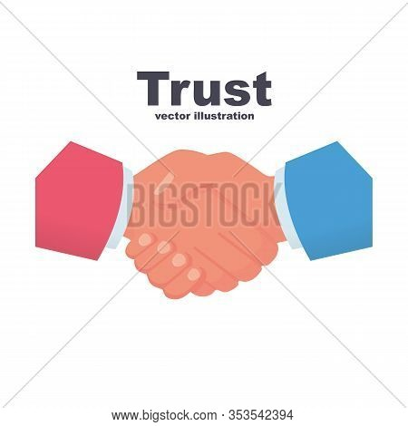 Trust Concept. Two Businessmen Shake Hands. Handshake Business Icon. Symbol Of Successful Partnershi