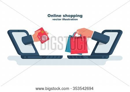 Shopping Online. Credit Card And Purchases In Hand. Digital E-commerce. Buying On Internet. Mobile S