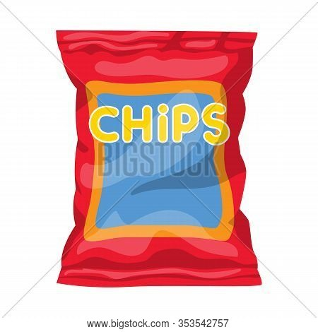 Vector Design Of Chip And Fluted Sign. Graphic Of Chip And Crunchy Stock Symbol For Web.