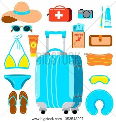 Travel Suitcase With Women Things Vector Set Isolated On White Background. Flat Small Lowcost Suitca