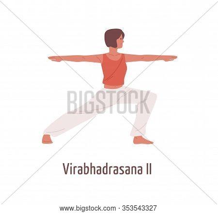 Active Cartoon Woman Practicing Virabhadrasana Ii Position Isolated On White. Yogi Female Exercising