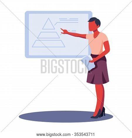 Business Woman Presenting Pyramid Graph Report. Colorful Flat Design Vector Illustration. Woman Maki