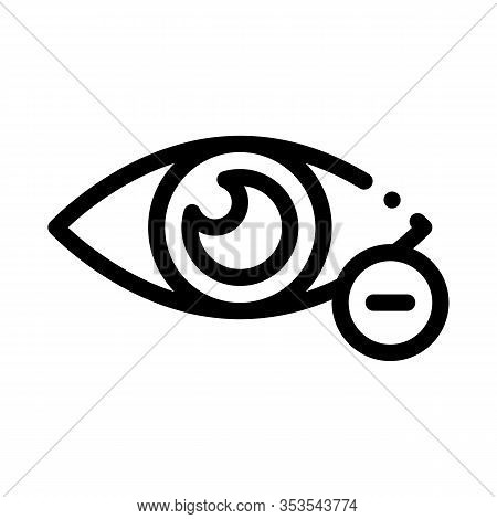 Diopter Myopia Eye Vision Icon Thin Line Vector. Eye With Minus Mark Concept Linear Pictogram. Eyesi