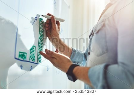 Man Explaining Chart With Marker In His Hand On White Board