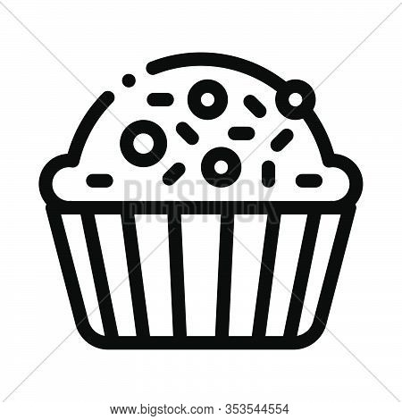 Muffin Delicious Baked Food Icon Thin Line Vector. Yummy Muffin Cake Covered Sweet Candies On Top Co