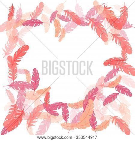 Carnival Pink Flamingo Feathers Vector Background. Falling Feather Elements Soft Vector Design. Deco