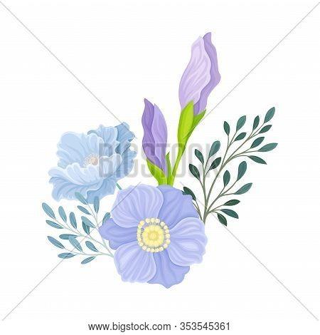 Flower Arrangement With Closed Iris Bud On Green Erect Stem Vector Illustration