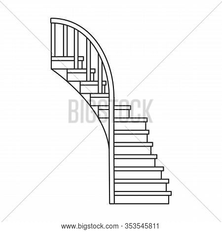 Wooden Staircase Vector Icon.outline Vector Icon Isolated On White Background Wooden Staircase.