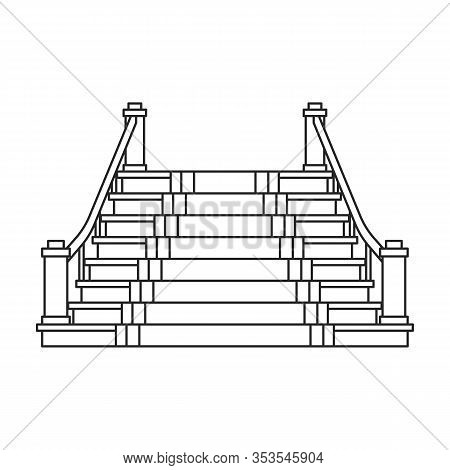 Staircase With Carpet Vector Icon.outline Vector Icon Isolated On White Background Staircase With Ca