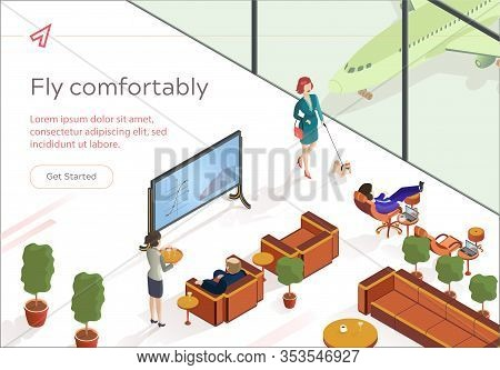 Flat Fly Comfortably First Class Lounge Isometric. Vip Lounge Airport For Business Class Passengers