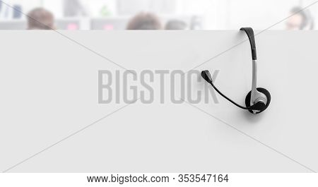 Communication Support, Call Center And Customer Service Help Desk. Voip Headset On Yellow Wall Backg